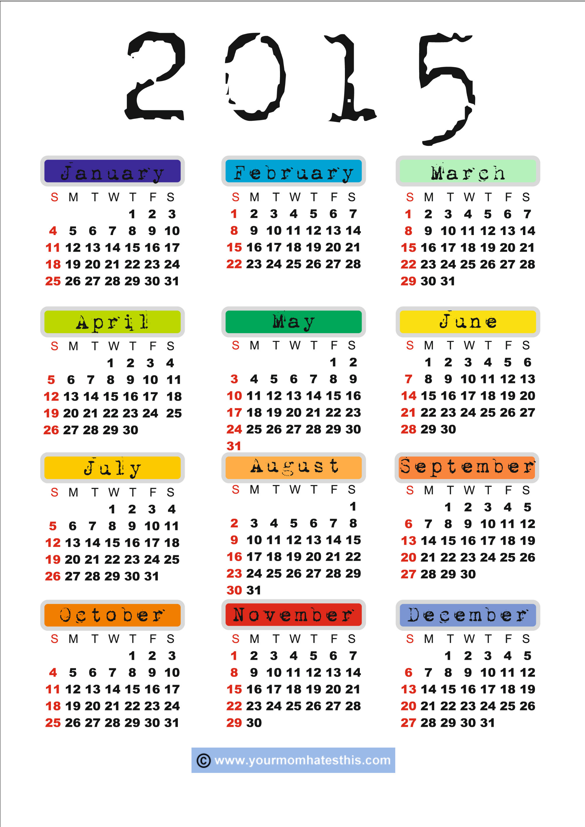 Free 2015 Calendar with Holidays