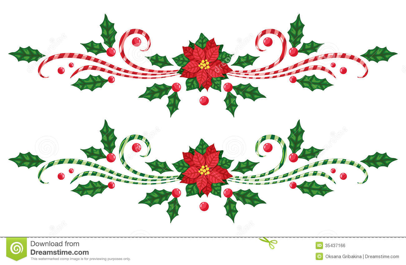 Free Christmas Poinsettia Border