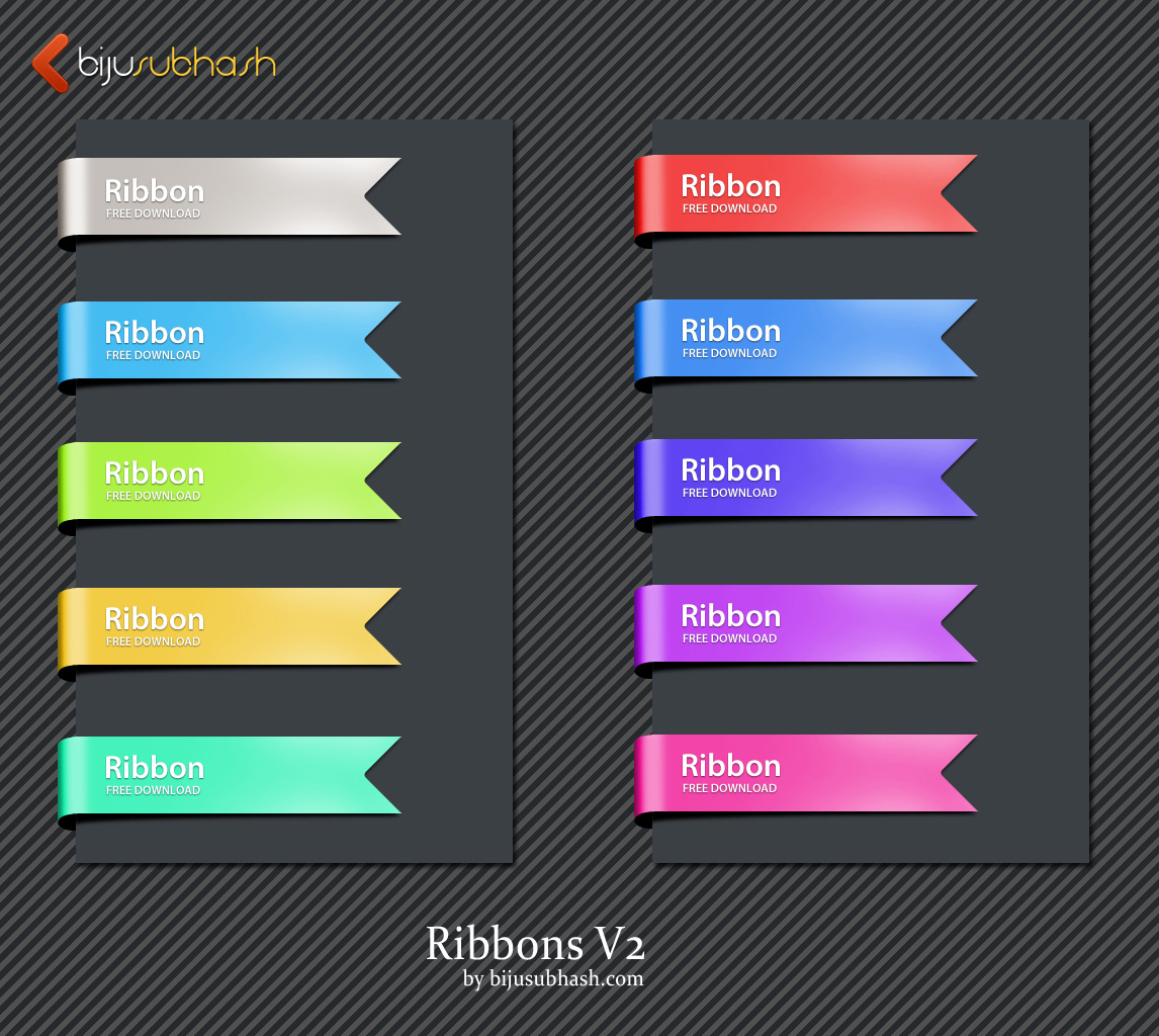 18 FREE Ribbon PSD Images