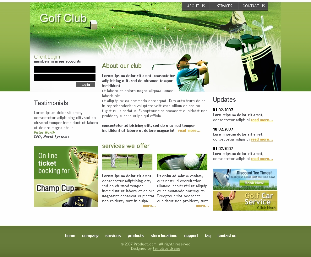12 Golf PSD Templates Download Images