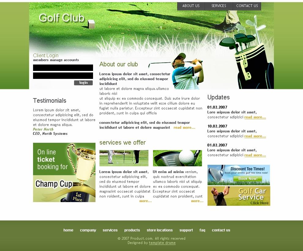 Free Website Templates Golf