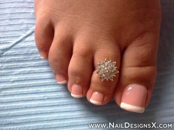 Floral French Fingers Toes French Toe Nails With Diamonds French