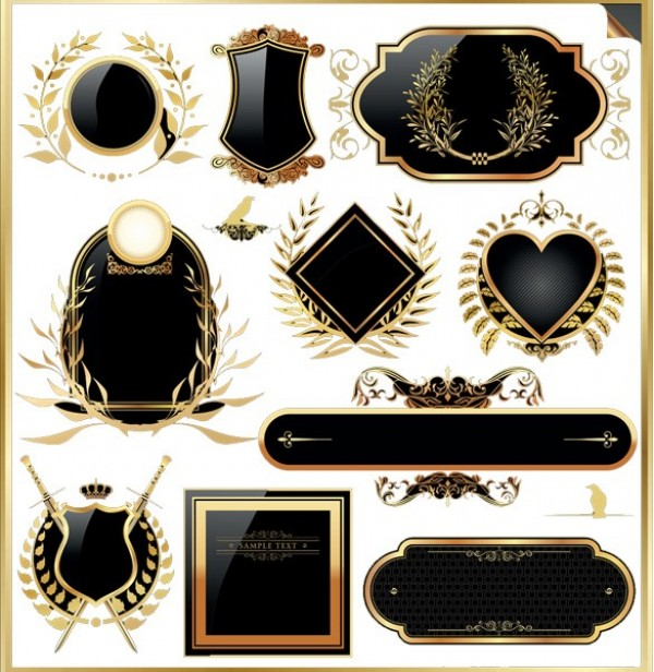 16 Vintage Vector Shield Icon PSD Images