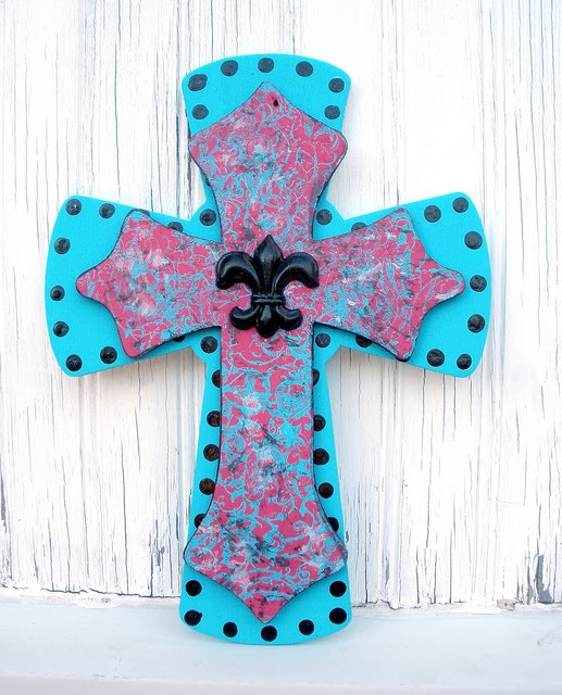 17 Painted Wood Cross Design Images