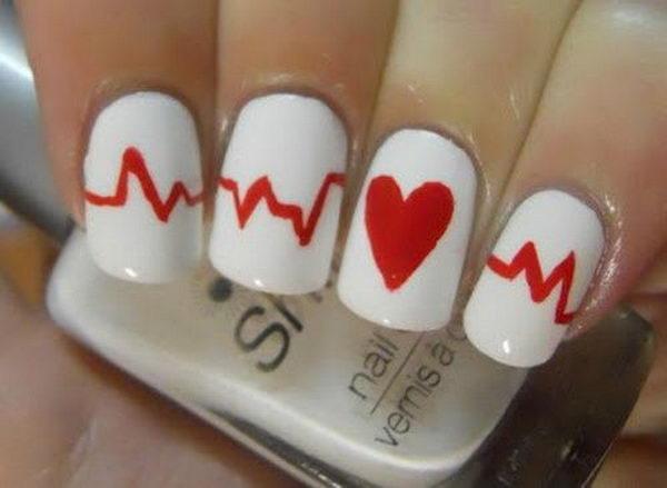 Heart Beat Nail Design