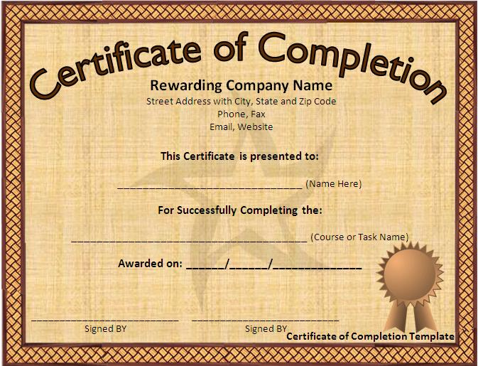Word certificate completion templates 12 certificate templates free downloads images yelopaper Images