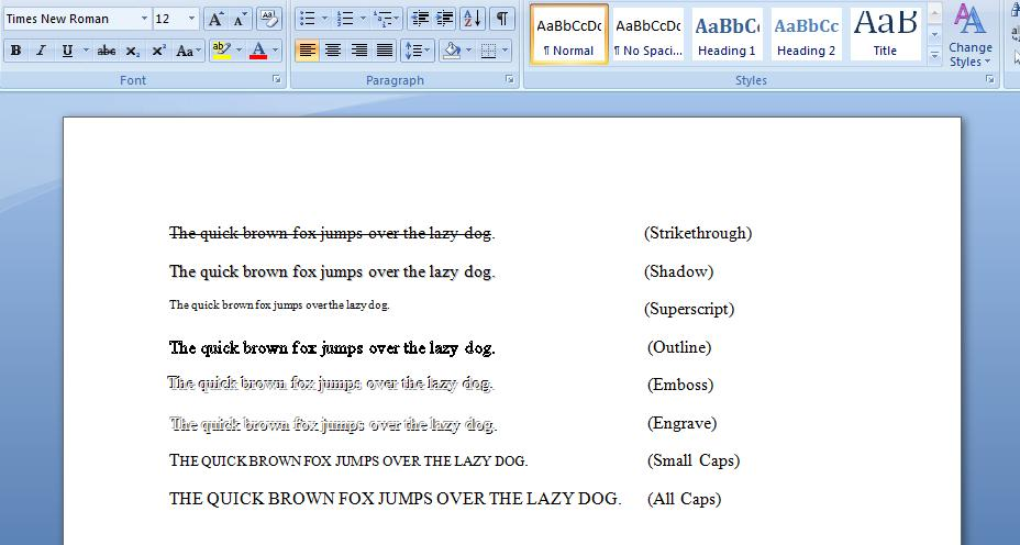 Microsoft Word Fonts Examples