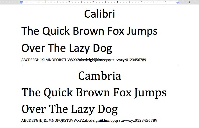 Microsoft Word Monospaced Fonts