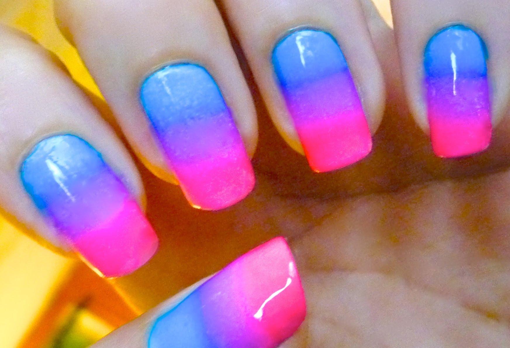 12 Blue And Pink Nail Art Design Images , Pink Acrylic Nail