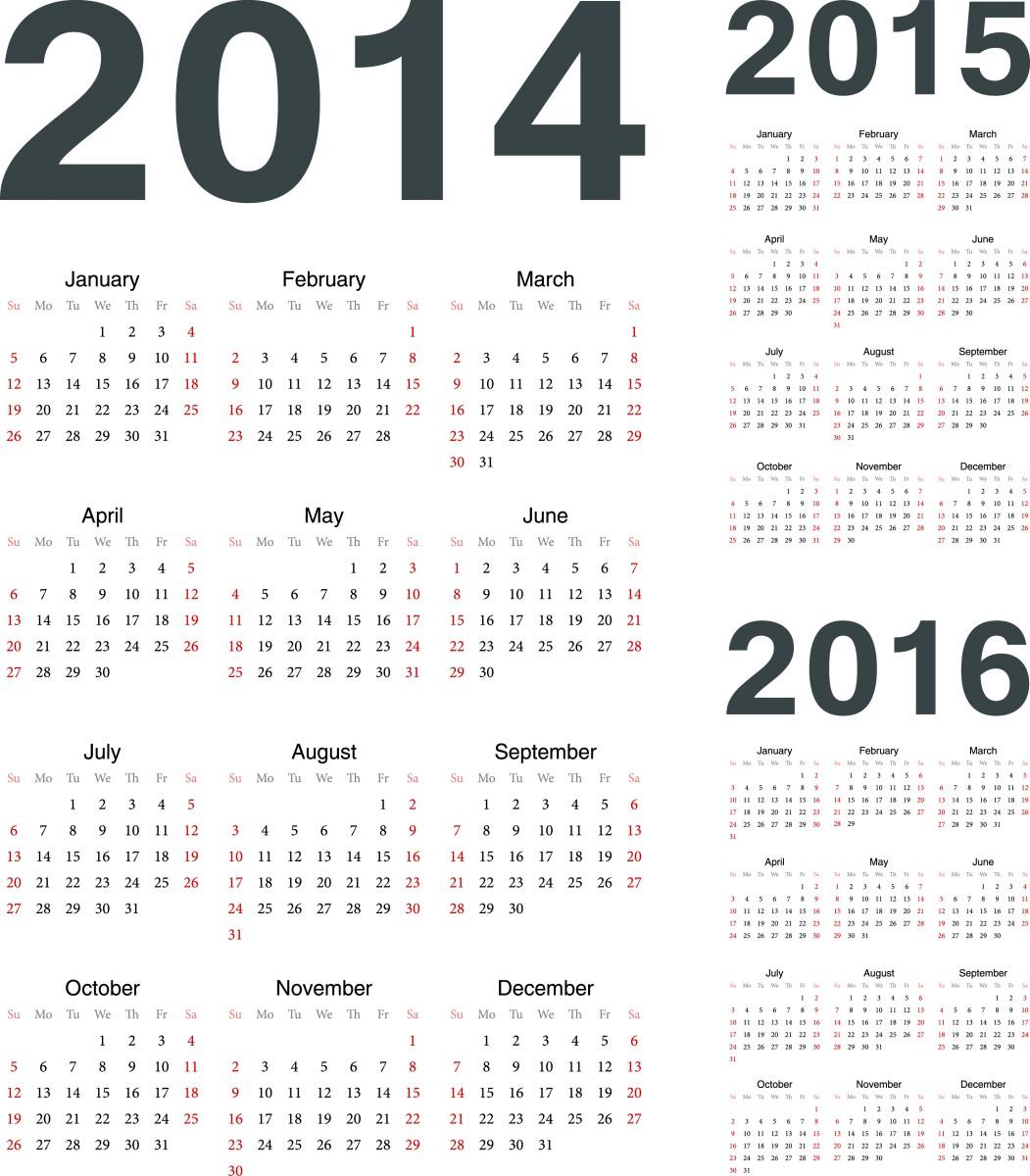 Printable Calendar 2014 2015 2016