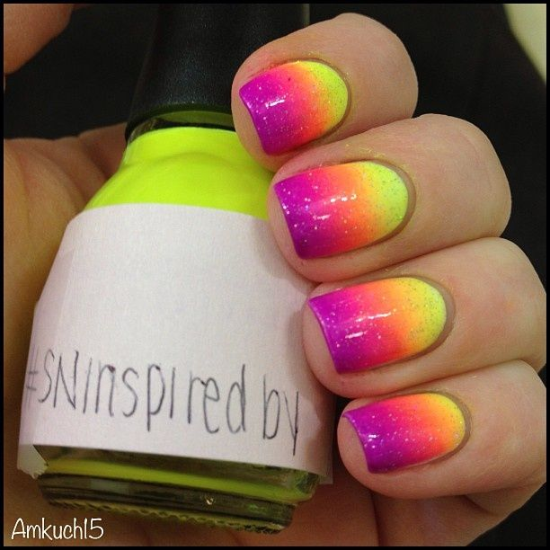 Purple and Neon Yellow Nails