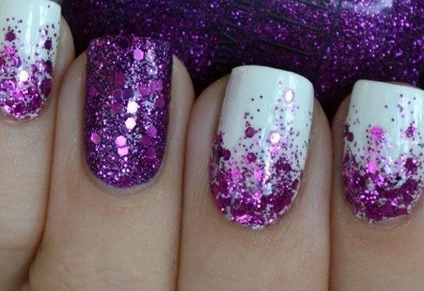 White And Purple Glitter Nails Www Picswe Com