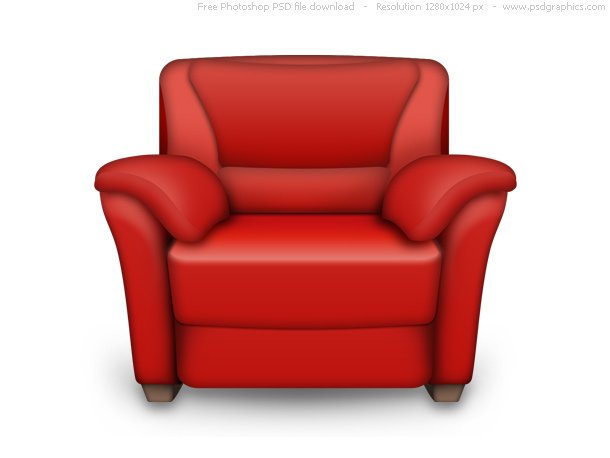 Red Leather Armchair and White PSD