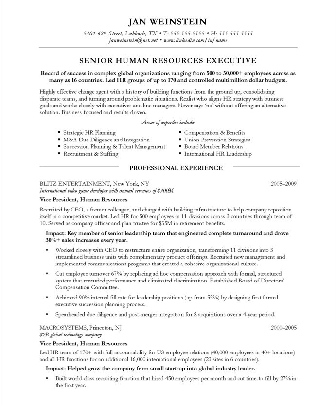 best resume header format - Resume Header Template