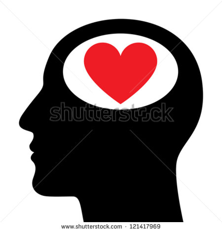 Silhouette of a Head with Hearts