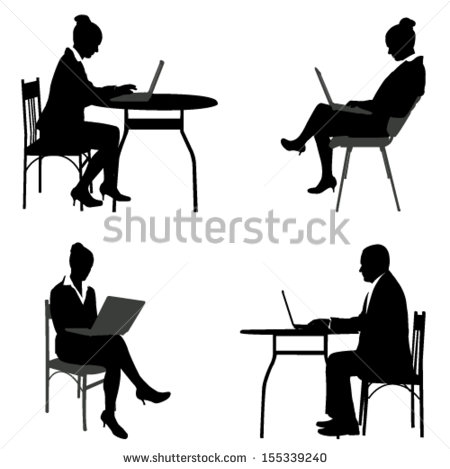 Silhouette Person Sitting at Desk
