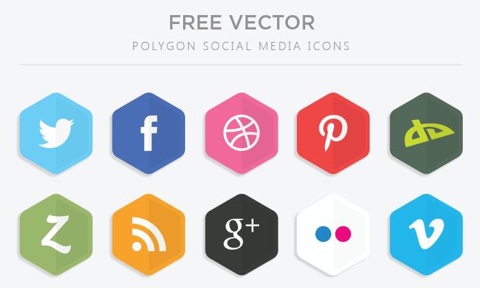 Social Media Icons Vector Polygon