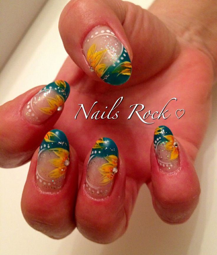 Sunflower Nail Design Ideas