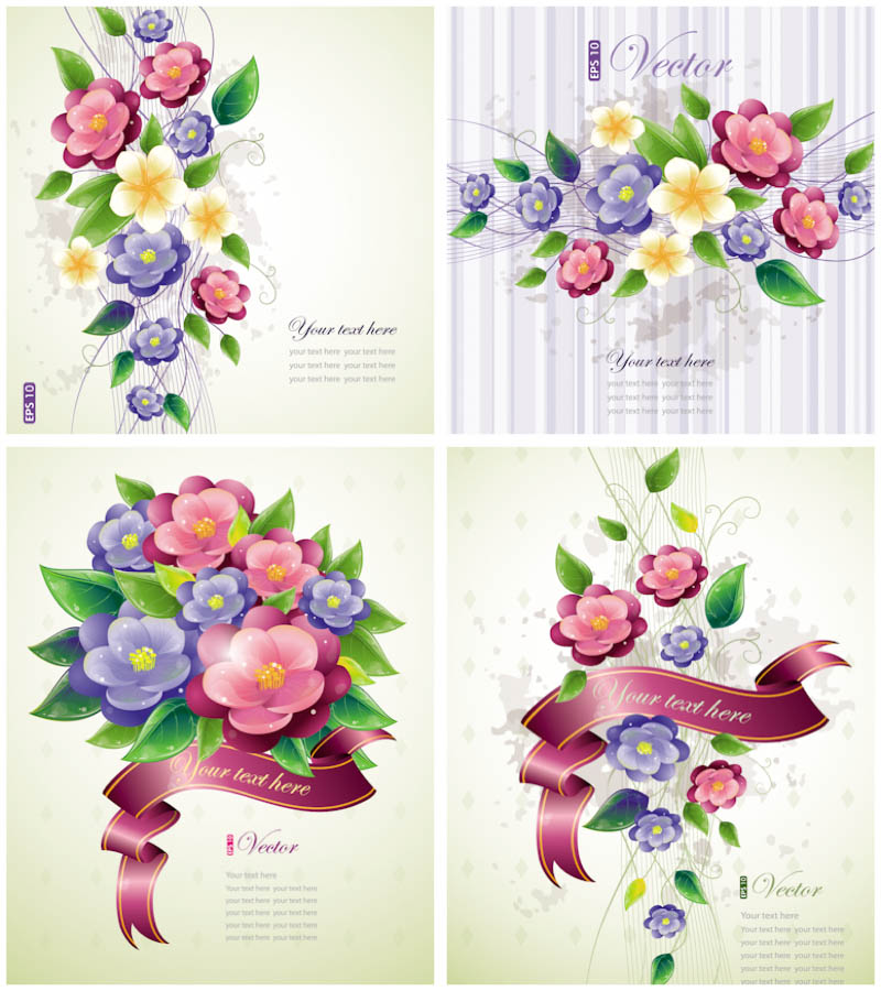 Vector Spring Flowers Card