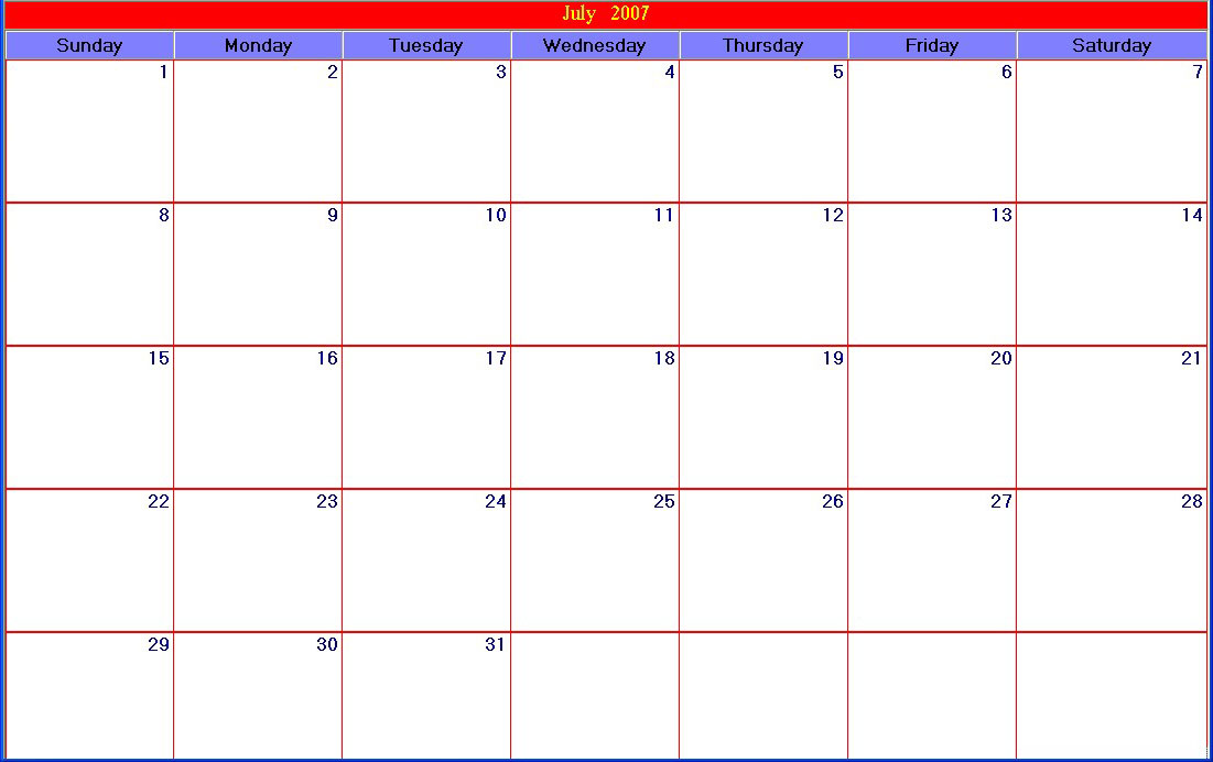 Blank Calendar Day Page : Calendar grid template images blank