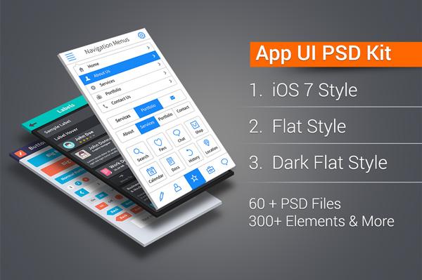 15 Flat App UI PSD Images