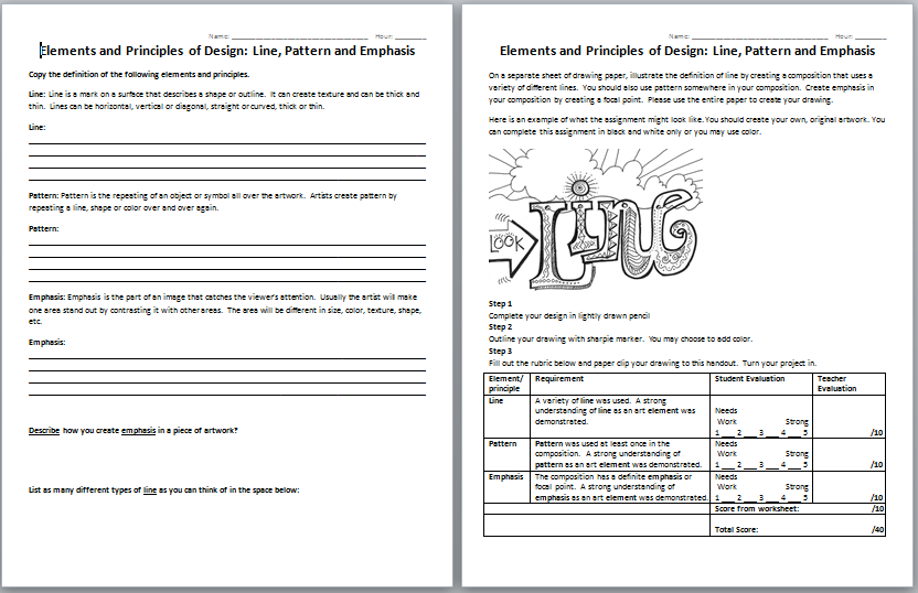 Printables Elements And Principles Of Art Worksheet printables elements and principles of art worksheet line designs worksheets intrepidpath worksheet
