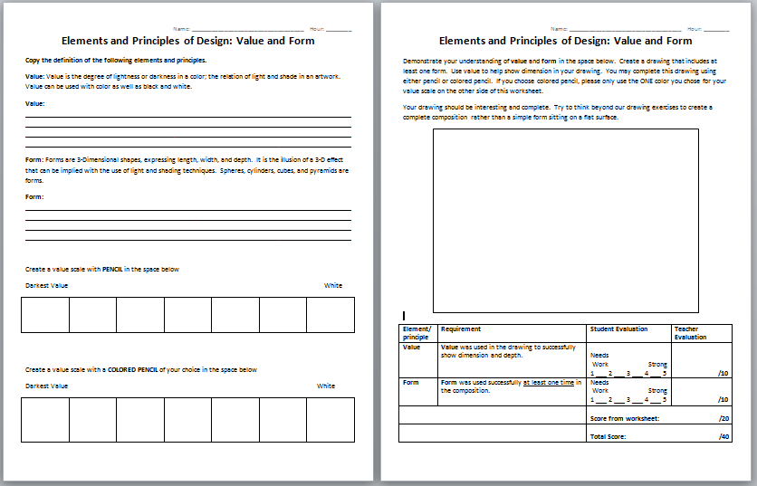 Printables Principles Of Design Worksheet Elements And Art Pichaglobal Vintagegrn