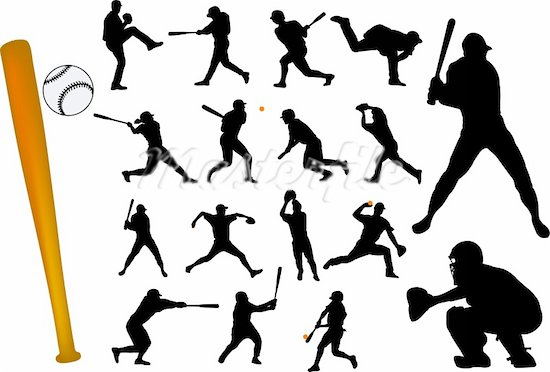 16 baseball player diving silhouette vector images