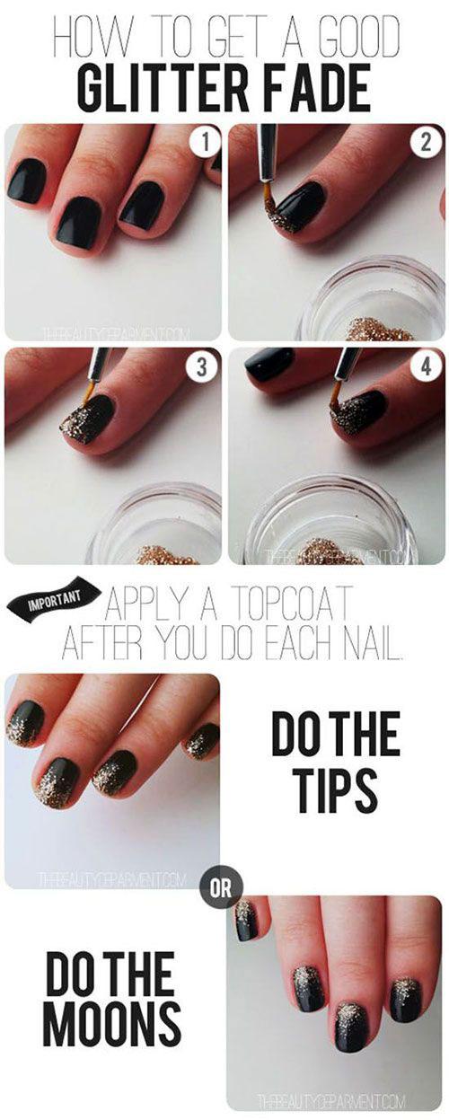 DIY Nail Glitter Fade