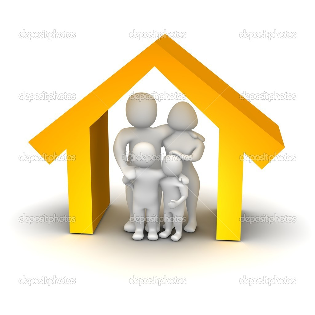 Family Inside House Clip Art