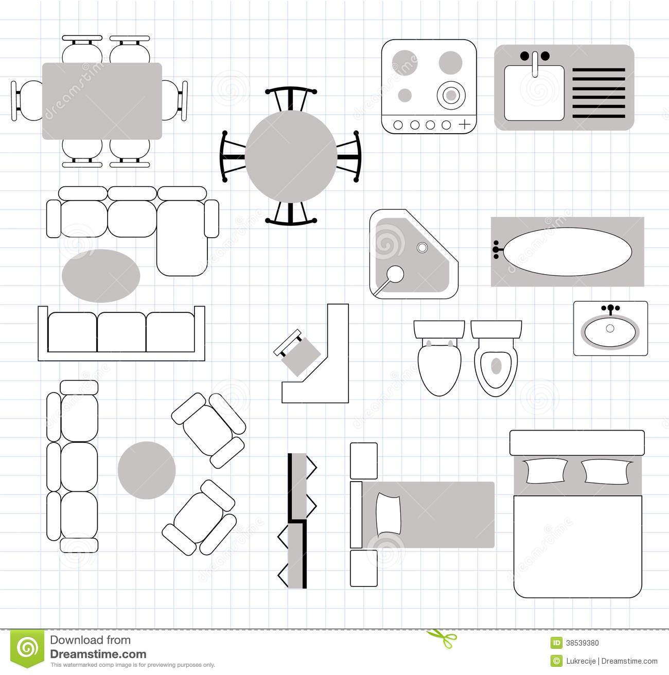7 Floor Plan Furniture Vector Images
