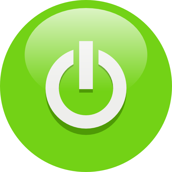 Free Green Computer Power Button On Off Symbol