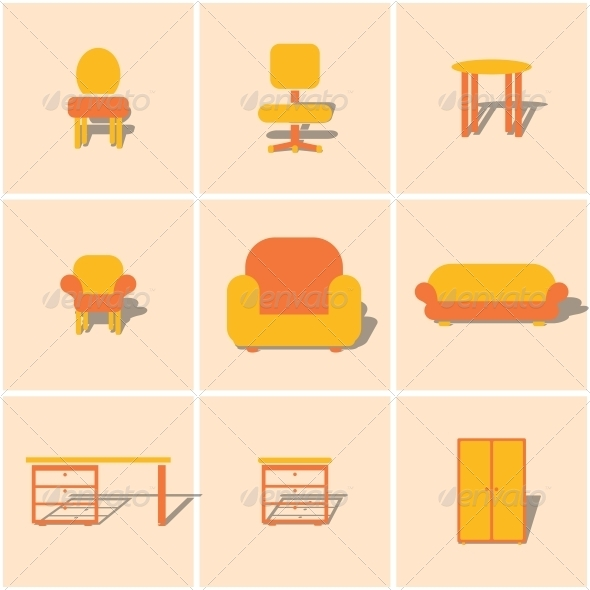 5 Flat Icons Furniture Images