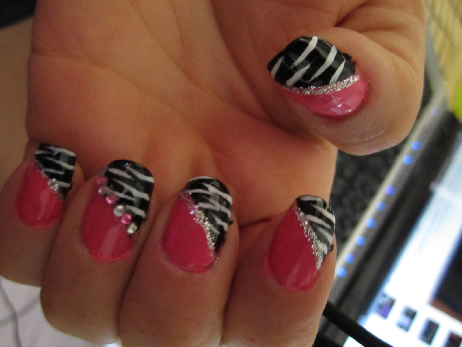8 Pink Zebra Nail Designs Images