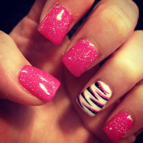 8 Pink Zebra Nail Designs Images Pink And Black Zebra Nail Design