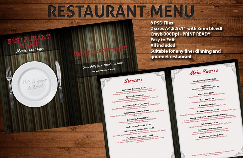 14 Free Psd Restaurant Menu Template Images
