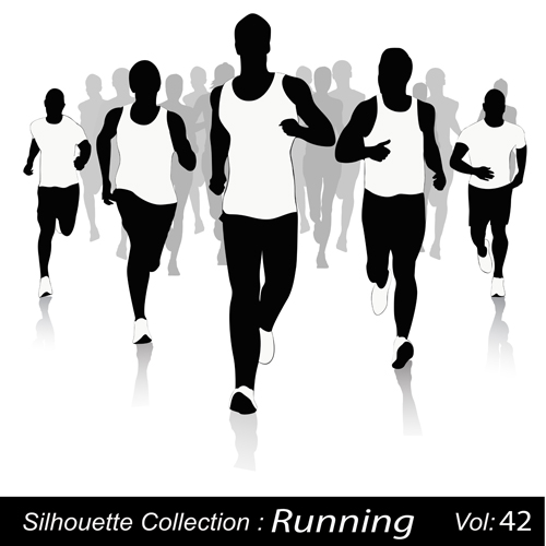 12 Running Silhouette Vector Images