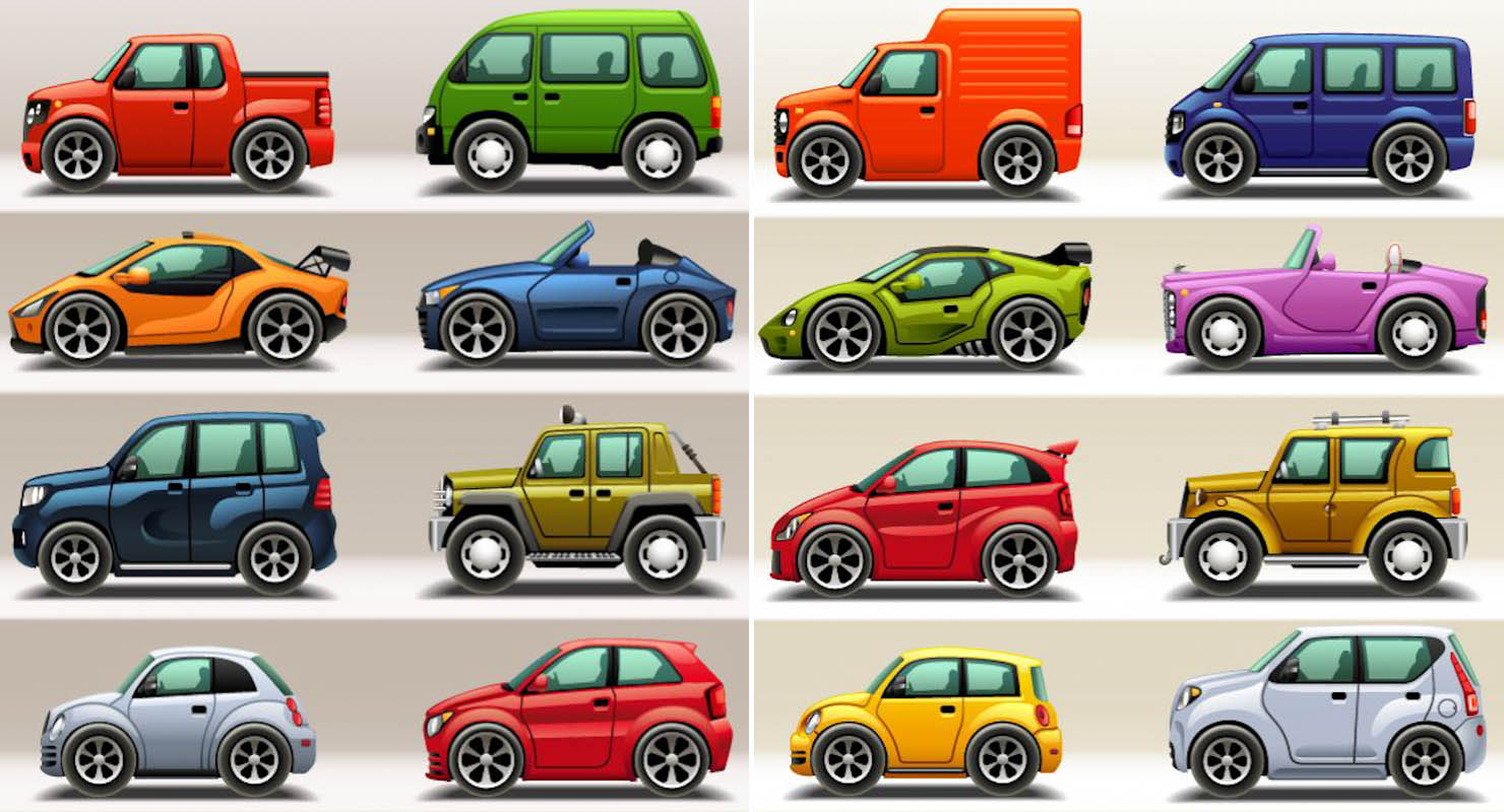 12 Cartoon Car Vector Images