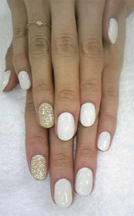 White Nails with Gold