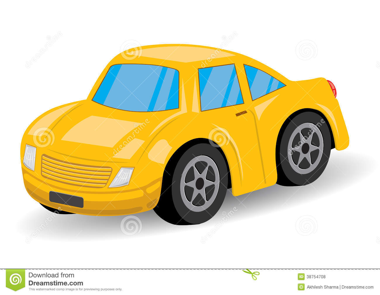 Yellow Sports Car Cartoon