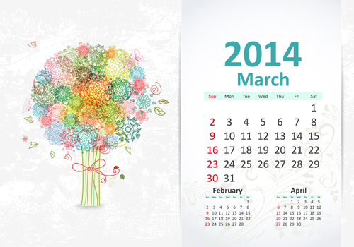 2014 March Calendar Clip Art
