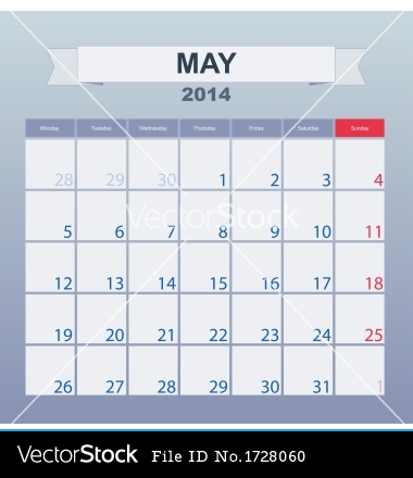 19 March Calendar 2014 Vector Images