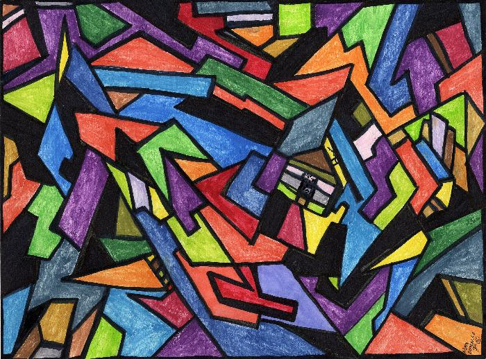 Abstract Painting with Geometric Shapes