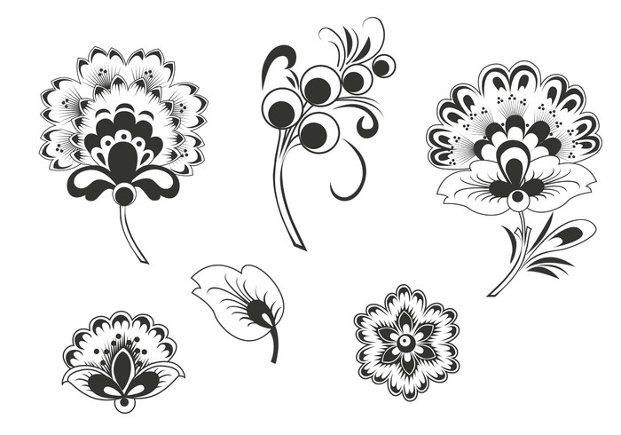 Black and White Floral Vectors