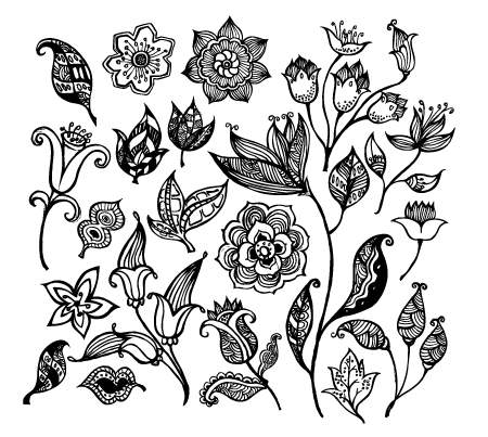 Black and White Flower Vector Free