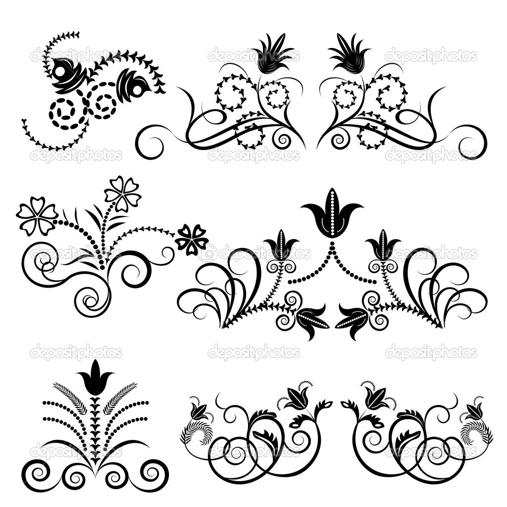 Black and White Vector Floral Design