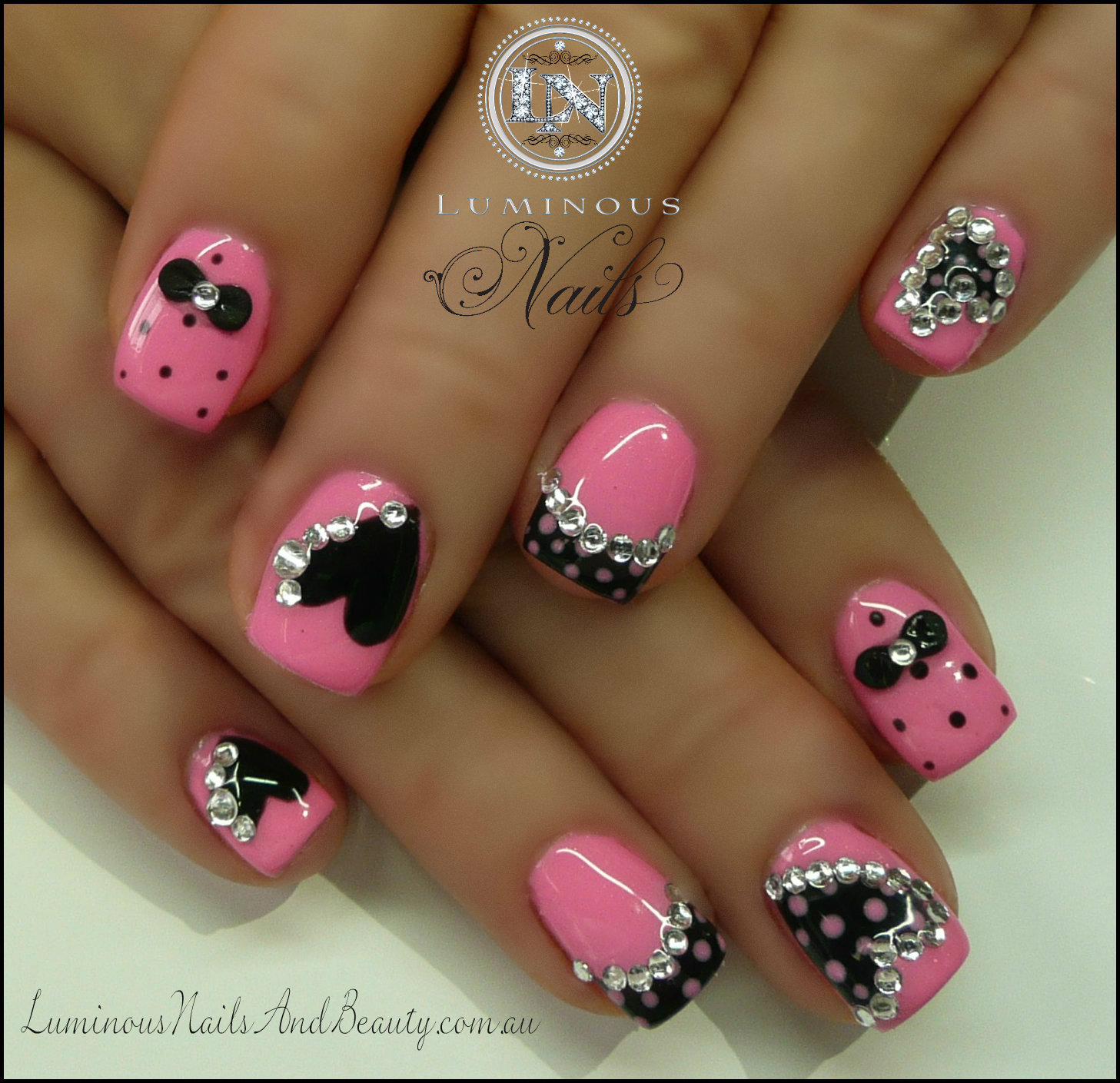 Black Nails with Pink Heart