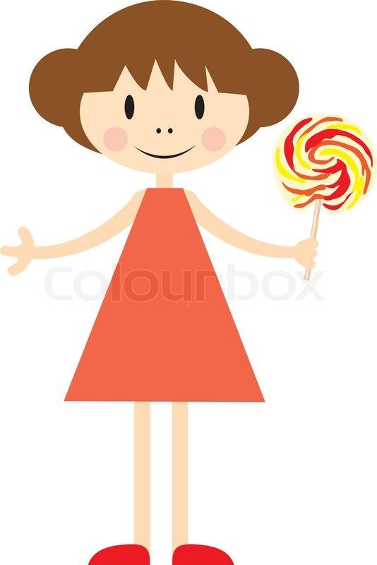 Cartoon Little Girl Holding Lollipop