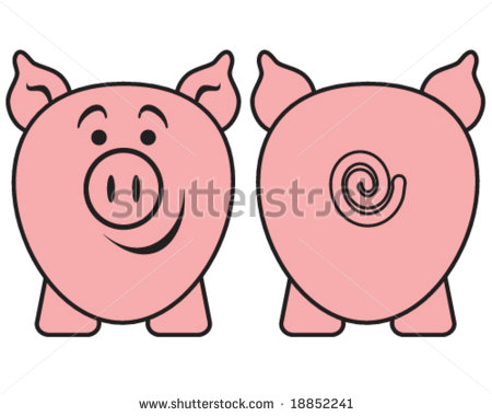 Cartoon Pig Front and Back