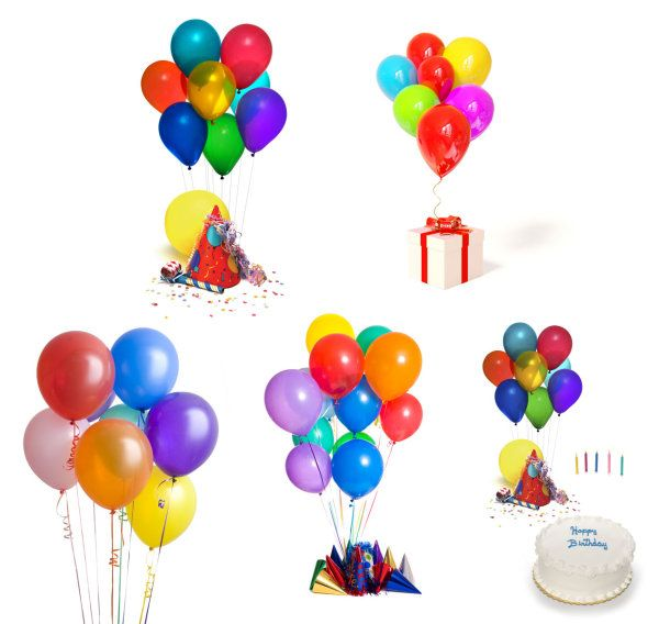 12 Birthday Balloons PSD Images